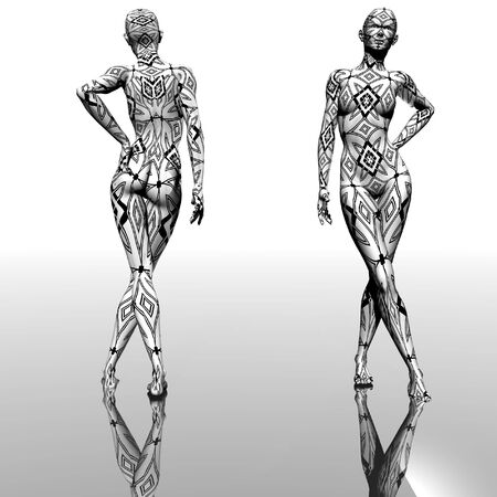 balck: Female body with figure of balck and white ornament  - digital artwork