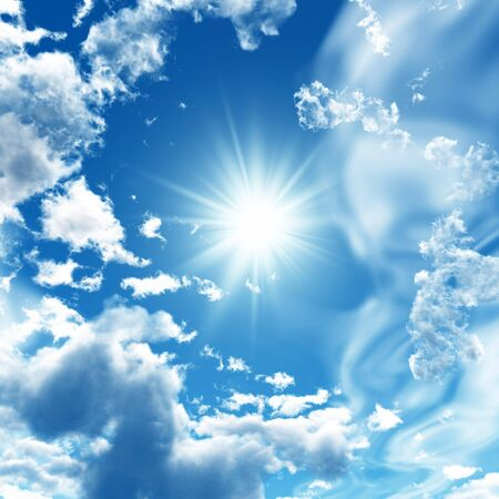 Blue sky with white clouds - digital artwork. Stock Photo - 3490784
