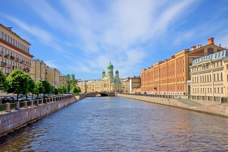 st petersburg: the old church on the city channel