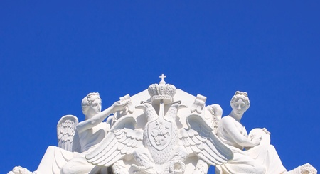 allegorical: allegorical sculptures - Angels with the coat of arms  of Russia