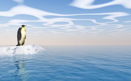 the antarctic: Antarctic penguin on ice - digital artwork  Stock Photo