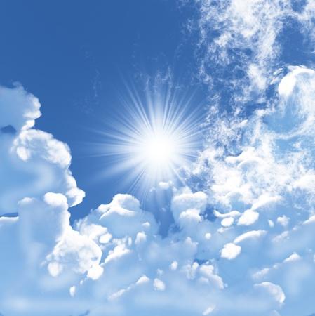 dia soleado: Cielo azul con nubes blancas