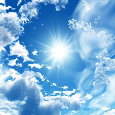 sky clouds: Blue sky with white clouds Stock Photo