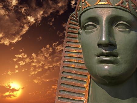 Egyptian Sphinx on the sunset sky  photo
