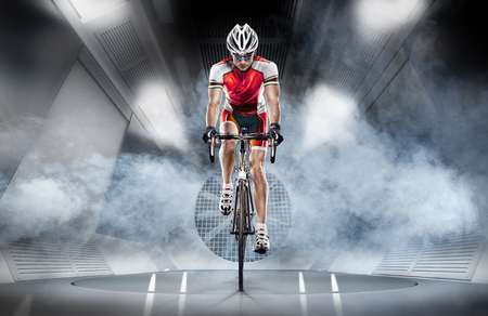 Sport. Cyclist has a traning in the wind tunnel Reklamní fotografie - 73003046