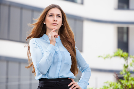 young business woman thinking about something Reklamní fotografie