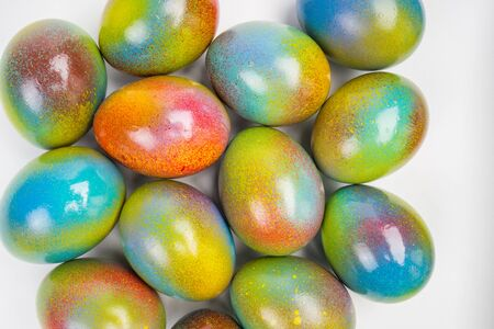 sprayed: colorful sprayed easter eggs Stock Photo