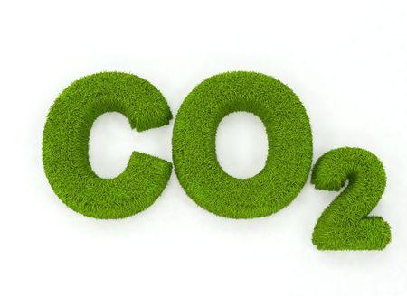 carbon neutral: Grass letters spelling C02