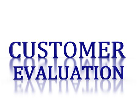 3d letters spelling Customer Evaluation in dark blue on white relective background photo