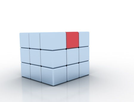Single red cube standing out photo