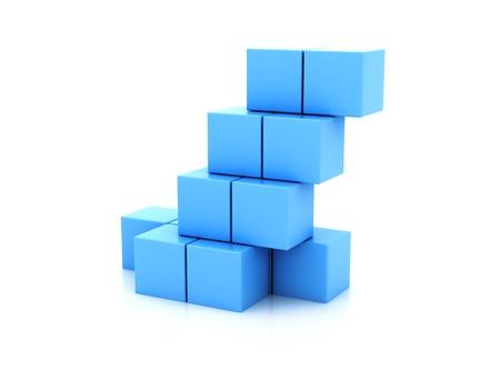 blue 3d blocks: 3D building blocks
