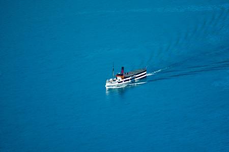 wakatipu: New Zealand steam ship on Lake Wakatipu Stock Photo