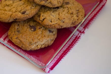 Gourmet Chocolate Chip Cookies on Glass Plate