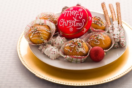 phillip rubino: Decorative Plate of Holiday Treats and Christmas Ornament