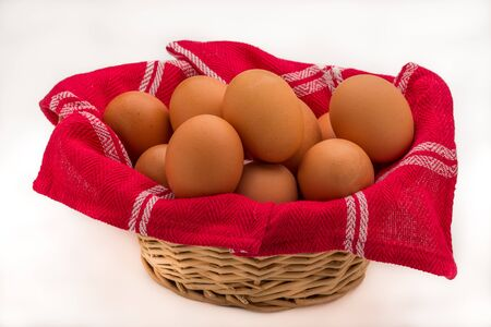 Wicker Bowl of Brown Eggs