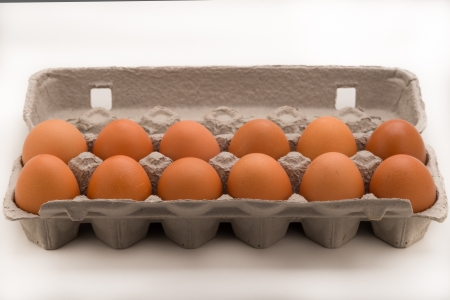 Horizontal Carton of Brown Eggs