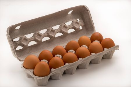Diagonal Carton of Brown Eggs Stock Photo