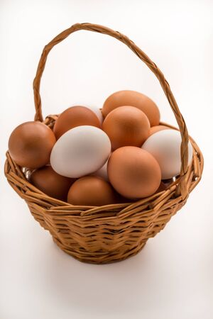 Simple Wicker Basket Full of Mixed Eggs
