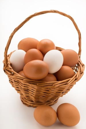 Wicker Basket of Mixed Eggs