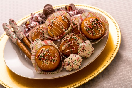 Delicious Plate of Holiday Treats Stock Photo