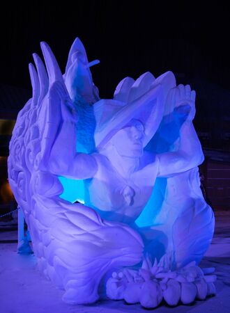 Ice Blue Snow Sculpture at Night