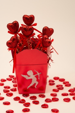 Red Heart Decorations and Box for Valentines Day