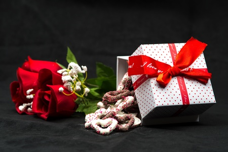 Box of Chocolate Hearts and Roses for Valentines Day