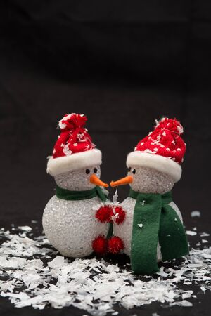 Two Snowman Snuggling for Valentines Day