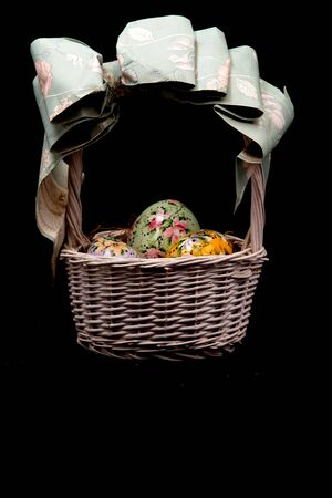 Cute Wicker Basket of Hand Painted Eggs