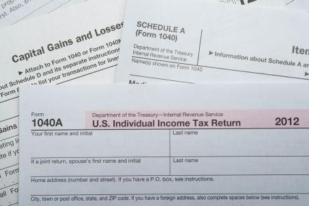 phillip rubino: Multiple 2012 Tax Form  Stock Photo