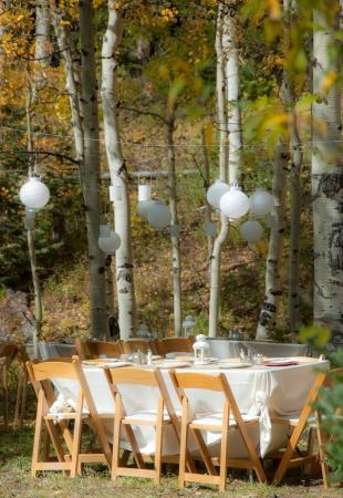 Prachtige outdoor bruiloft tafel in een espbosje