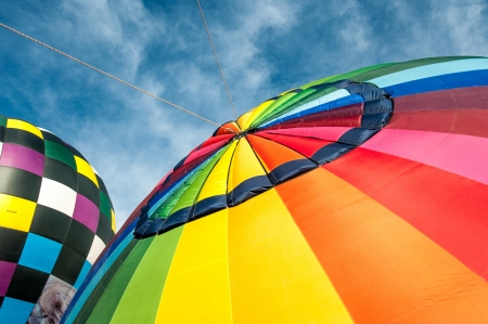 Colorful hot air balloons and blue sky