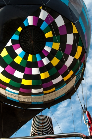 Inside a colorful hot air balloon