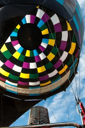 Inside a colorful hot air balloon