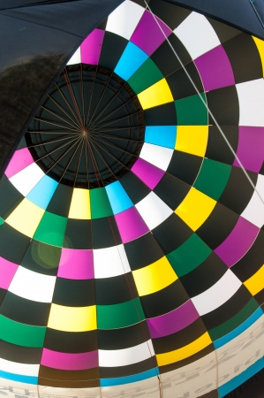 phillip rubino: Closeup of inside of a colorful hot air balloon
