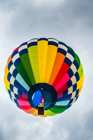 Colorful hot air balloon from below