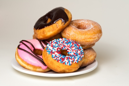 phillip rubino: Donuts stacked on a plate Stock Photo
