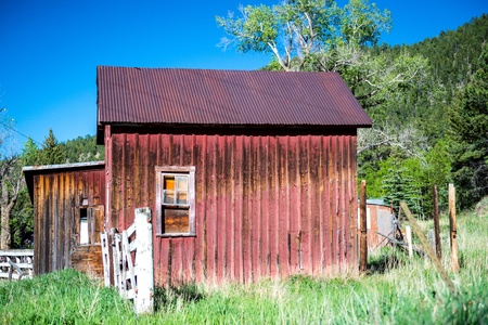 Old red barn in the country photo