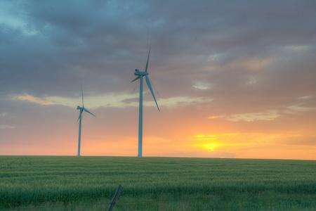 phillip rubino: Wind farm on the plains at dusk