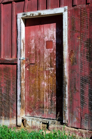 Old red barn door photo