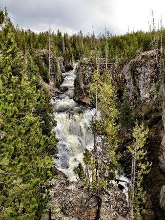 Flowing waterfalls in Yellowstone.