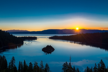 Sunrise over lake Tahoe and Emerald Bay