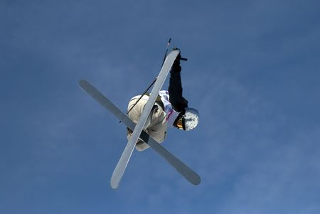 Freestyle skier in les Arcs. France photo
