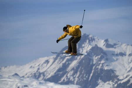 Male freestyle skier flying in the air. Stock Photo - 2940477