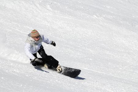 Snowboarding in Le Grand Bornand Stock Photo - 4589456