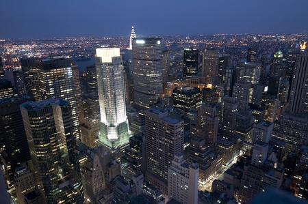 View of New York at night, from the rockefeller photo