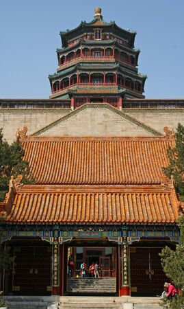 summer palace: Chinese pagoda at the Summer Palace, Beijing Editorial