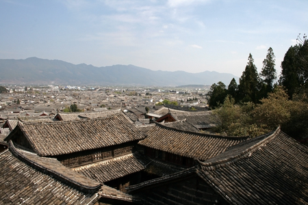 A view across the top of a traditional Chinese village Stock Photo