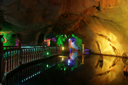 the crags: Zhaoqing, China - May 10, 2012 - The underground river of Seven Star Crags Park