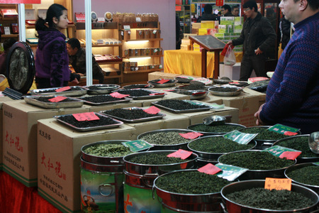 Shenzhen, China - January 22, 2011 - Display of green tea for sale at a local fair